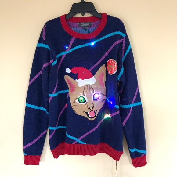 bece1edcc21 33 Degrees Sweaters - Cat Light Up Laser Kitty Ugly Christmas Sweater